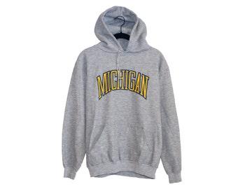 Vintage University of Michigan Wolverines Dark Heather Grey 50/50 Hooded Sweatshirt, Made in USA -