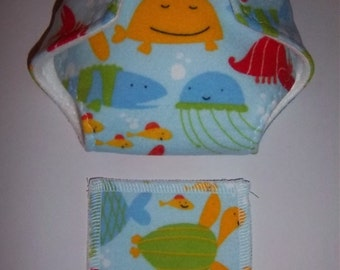 Baby Doll Diaper/wipe - happy underwater creatures on ocean blue - adjustable for many dolls such as bitty baby