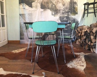 Vintage French turquoise blue green expandable breakfast kitchen table set with four chairs drawer circa 1950's / English Shop