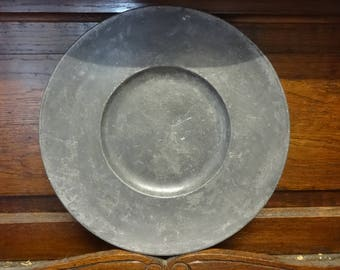 Antique French pewter plate tray charger platter serving lap table floor plate display circa 1800-1900's / English Shop