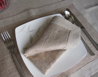 Natural linen tablecloth placemat - table runner - matching cloth napkins - gold shimmery dining Entertaining wedding party table decor