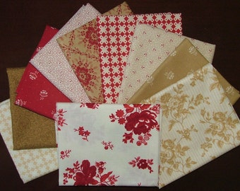 Midwinter Reds Fat Quarter Bundle of 10 by Minick & Simpson for Moda LAST ONE
