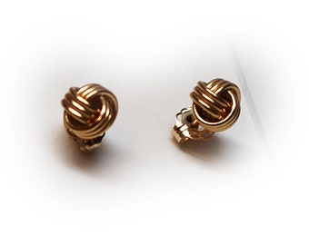 14K Gold Wire Knot Stud Earrings