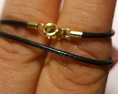 10k Yellow Gold 1.5 MM Leather Cord Necklace 18 Inches #2300