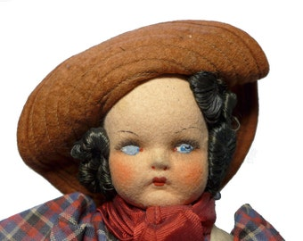 """Antique 1930s Holzer Cia & Mariposa 12"""" Felt Doll Painted Cloth Mask Face"""
