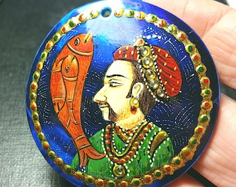 54mm round Matsya MANU Fish VIDEO Link hand painted on Abalone shell drilled - an important piece, this cannot be repeated