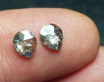 0.89ct pair Silver grey VIDEO LINK Salt and Pepper check cut diamonds 6.9 by 4.1 by 1.4mm