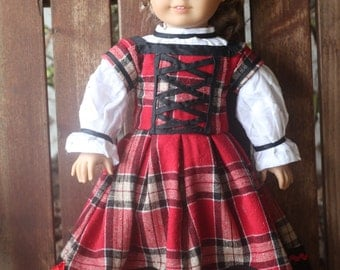 Kirsten's Winter Sweetheart 2 piece plaid dress for 18in American girl dolls