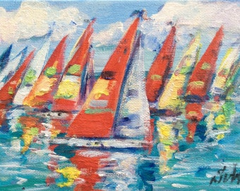 "Sailboats Painting Regatta Sailing Painting seascape  original painting 5 x 7"""