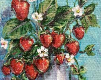"Strawberries painting still life original strawberry painting 7 x 5"""