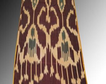 Amazing Vintage black  Atlas Ikat,  Dress Decor fabric, 100% silk Original Uzbek handcrafted 5yard  46 ench