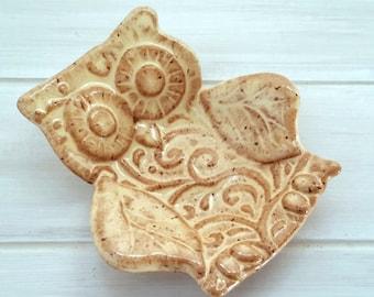 Owl Trinket Dish // Ring Bowl //Jewelry Holder //Change Dish Tan and Brown