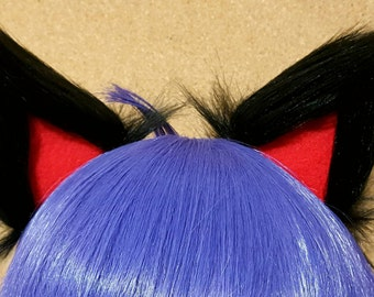 Black and Red Clip on Cat Ears