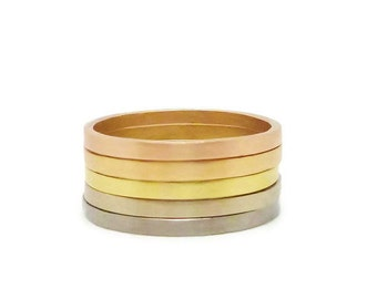 Ombre Ring or Wedding Band in 18k Gold - Russian, Rose Apricot, Green, Palladium