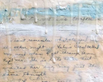 """Encaustic Art by Angela Petsis, Original Collage - """"The Writing on the Wall"""", Vintage Letter Art,  Mixed Media Art"""