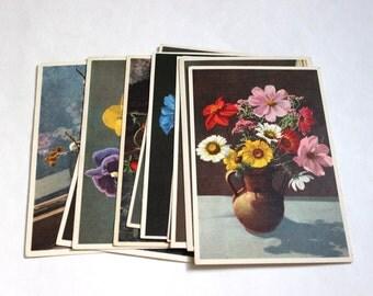 10 Vintage Flower Unused Blank Postcards - Vintage Unused Postcards