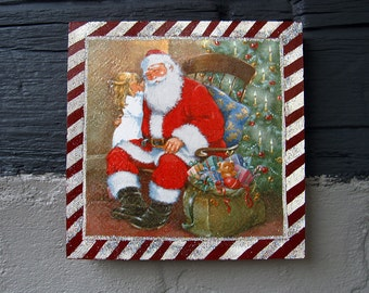 Christmas decoration. Saint Clause canvas home decoration Christmas gift painting