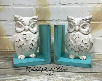 New! Chunky Owls Figurines Set of Bookends//Available in a Variety of Colors//French Country//Rustic Farmhouse Decor//Owl Book Ends