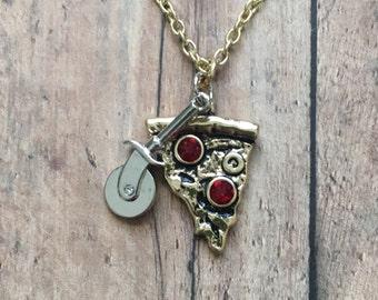 Gold rhinestone pizza necklace