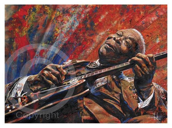 B.B. KING, art print of oil painting, King of the blues