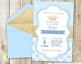 Prince Invitation - Prince Birthday Invitation Boy Birthday Invite Prince Party Prince Invite Prince Baby Shower Invite Gold Glitter Prince