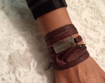 Agate Leather Wrap Bracelet Necklace or Choker