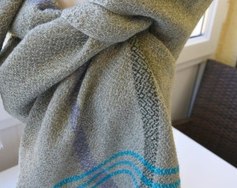 Turkishtowel-2017 Collection-Hand woven,cotton warp,cahmere and wool weft Shawl-Very warm,lovely-Khaki and teal weft