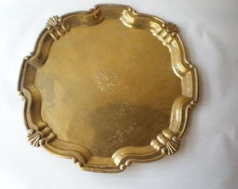 Vintage Large Heavy Brass Tray Brass Accent