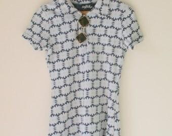 Vintage MOD GIRL Dress....size xsmall small womens...floral dress. 60s dress. 70s dress. groovy. geometric. groovy. twiggy. blue. white.