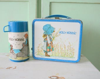 Vintage HOLLY HOBBIE Metal Lunch Box With Thermos..rare. collectible. aladdin. classic. gift. one of a kind. little girls. tin box. kids.