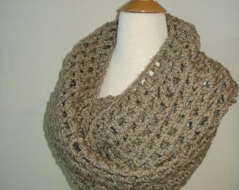 Funky Handmade Beige Crochet Infinity Scarf / Cowl