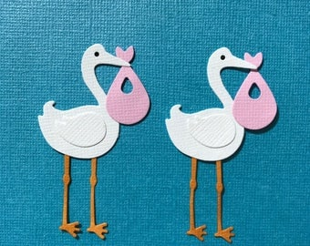 4 Storks with Pink Bundles Embellishments Scrapbooking Die Cuts New Baby Girl Paper Crafts Free Post Australia