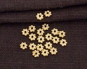20 of Sterling Silver  24k Vermeil Style Daisy Spacer Beads 4mm.  :vm0819