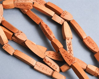 Long strap of vintage wood beads, necklace. Wood beads