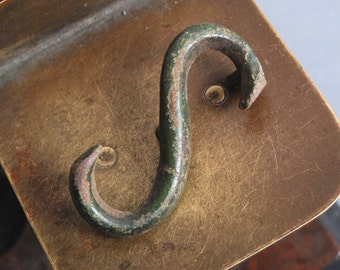 "Antique brass ""S"" letter, plate, connector, embellishment, finding."