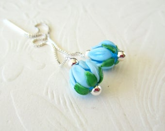 Spring Flowers-Aqua Tulips-Threaders-Sterling Silver-Lampwork Glass