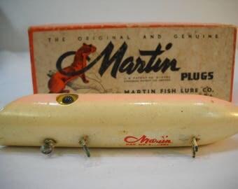 "Vintage Martin 5M-4 Pearl Pink Fishing Lure 5"" Plug With Original Box FREE SHIPPING"