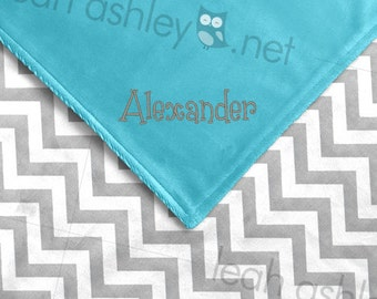Baby Blanket - Gray Chevron Minky, Turquoise Minky Smooth - BB1