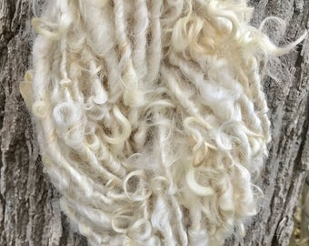 Handspun Yarn Curly Leicester Longwool Natural White