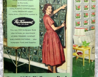Sears 1953 Wallpaper Book, 80 Pages of Color Samples, Vintage Harmony House Home Decor Illustrated Ephemera, Prices, FREE SHIPPING