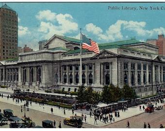 New York City Public Library Postcard c1915, Fifth Avenue, Manhattan NYC, Antique Edwardian Color Ephemera, FREE SHIPPING