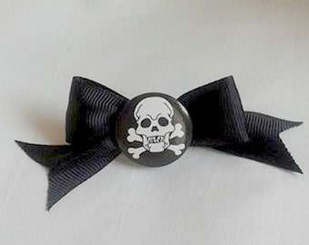 Skull and Crossbones Black Bow Barrette