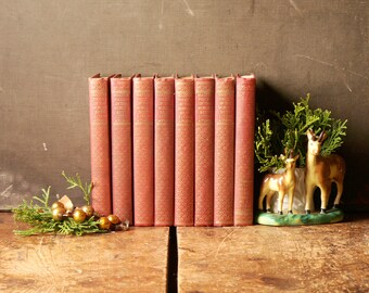 Instant Library - Masterpieces of the World's Best Literature - Set of 8 Small Red Books with Gold Embossing