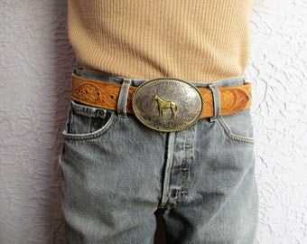 Vintage Silver Western Belt Rodeo Hand Carved  Leather Belt Med- Large 34