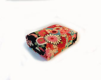 Vintage kimono silk fabric covered box,boudoir box, jewellery box