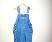 Vacation SALE- 10% off - Vintage Denim Jean Overall Shorts Bib Dungaree Shortalls // womens medium