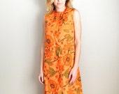 After Christmas SALE - Vintage 70s Orange Floral Maxi Hawaiian Style Asian Sleeveless Summer Luau Dress / womens small