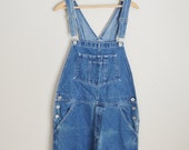 reserved for Danielle /////// vintage denim jean overalls -- distressed overalls dungarees -- womens large