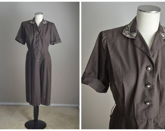 vintage 40s 50s brown house day dress--womens medium -- 42-31-free