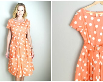Vintage 50s 60s Peach Tropicana Polka Dot Summer Beach Dress with Pockets and Belt // womens small // size 2 / 4